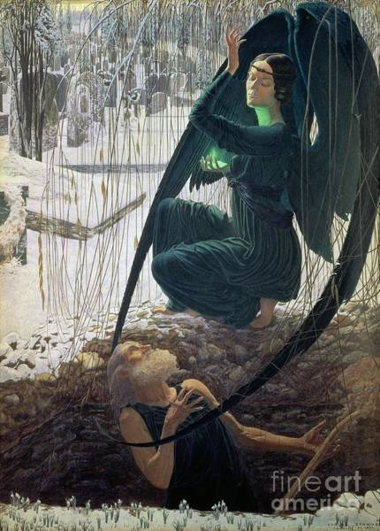 Black Magic Woman Wall Art - Painting - The Death And The Gravedigger by Carlos Schwabe