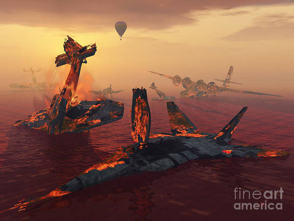 Debris Digital Art - The Destruction Of Fighter Planes by Mark Stevenson