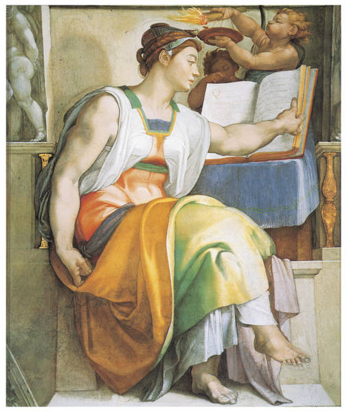 Buonarroti Wall Art - Painting - The Erythraean Sibyl by Michelangelo Buonarroti