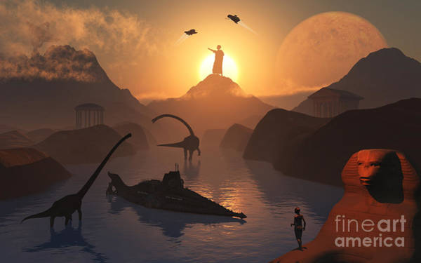 Planets And Moons Digital Art - The Fabled City Of Atlantis Set by Mark Stevenson