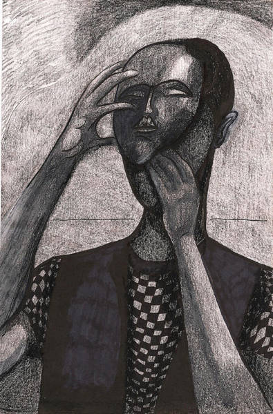 Interpret Drawing - The Face Behind The Mask by Al Goldfarb