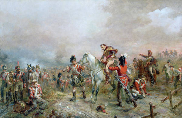Wounded Soldier Painting - The Field At Waterloo by Robert Alexander Hillingford