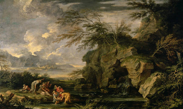 Pharaoh Painting - The Finding Of Moses by Salvator Rosa
