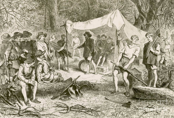 Lean-tos Photograph - The First Day At Jamestown, 1607 by Photo Researchers