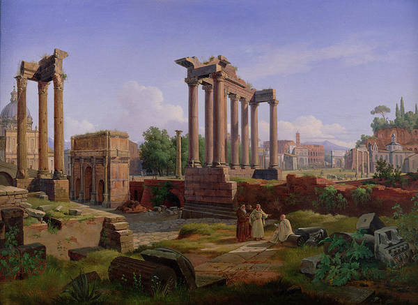 Monk Painting - The Forum Rome  by Gustav Palm