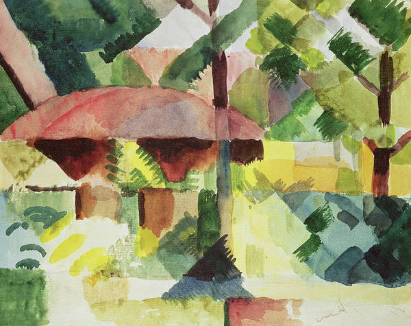 The Blue Rider Wall Art - Painting - The Garden by August Macke