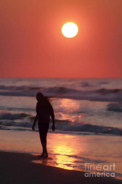 The Girl On The Beach Art Print