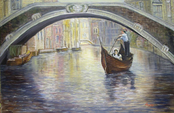 Painting - The Gondolier Venice Italy by Katalin Luczay