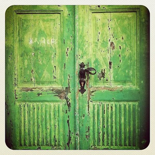 Wall Art - Photograph - The #green #door In #labin #croatia by Marianne Hope