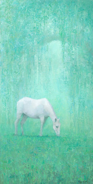 White Horse Painting - The Green Glade by Steve Mitchell