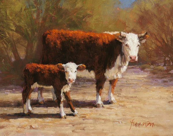 Hereford Bull Painting - The Guardian by Brian Freeman