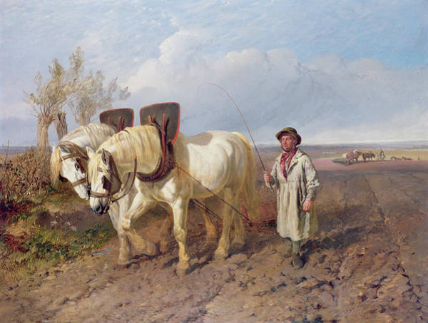 Plowing Painting - The Harrowing Team by John Frederick Herring Snr