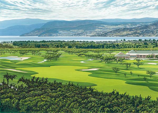 Okanagan Valley Painting - The Harvest Golf Club by Mal Gagnon
