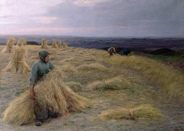 Wall Art - Painting - The Harvesters Svinklov Viildemosen Jutland by Knud Larsen