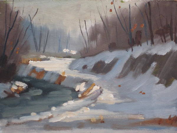 Snow Bank Painting - The Housatonic In Winter by Len Stomski