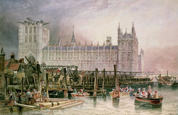 Houses Of Parliament Wall Art - Painting - The Houses Of Parliament In Course Of Erection by John Wilson Carmichael