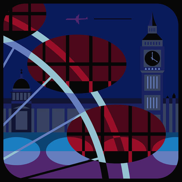Famous People Digital Art - The Houses Of Parliament, The Millennium Wheel And Big Ben, London, United Kingdom by Nigel Sandor