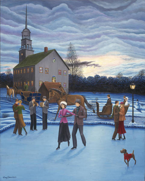 Painting - The Ice Skaters by Tracy Dennison