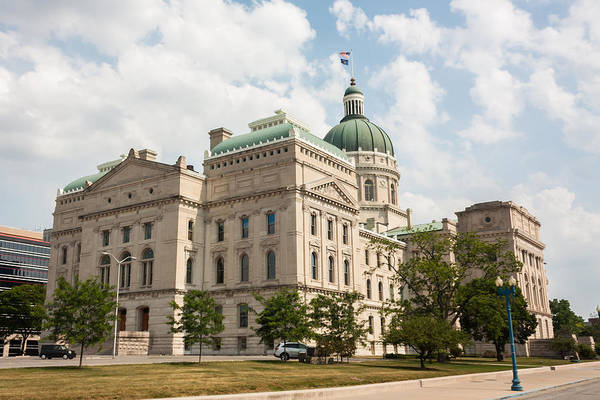 Courthouse Towers Wall Art - Photograph - The Indiana Statehouse by Semmick Photo