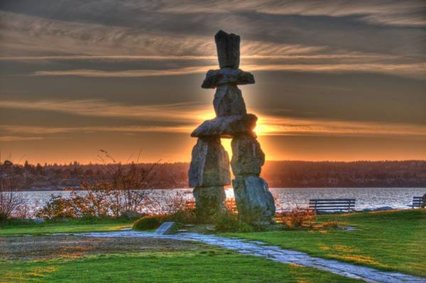 Photograph - The Inukshuk At English Bay by Lawrence Christopher