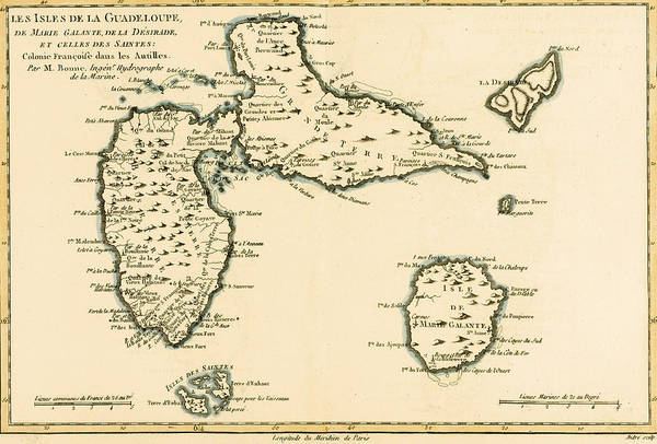 Old West Drawing - The Islands Of Guadeloupe by Guillaume Raynal