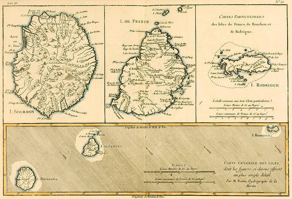 Mapping Drawing - The Islands Of Rodriguez Isle De France And Bourbon by Guillaume Raynal