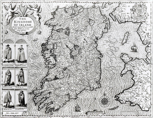 Mapping Drawing - The Kingdom Of Ireland by Jodocus Hondius