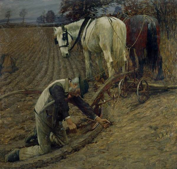 Plowing Painting - The Last Furrow by Henry Herbert La Thangue