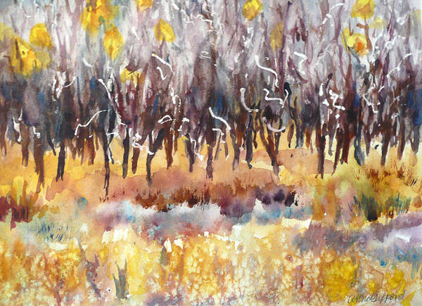 Mountain Scene Wall Art - Painting - The Last Of The Aspen Leaves by Anne Gifford