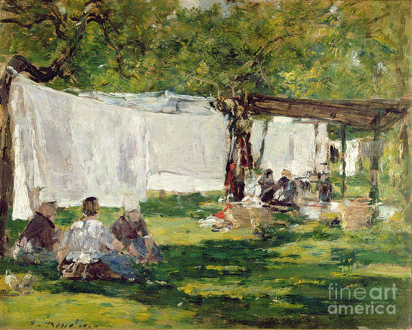 Oil Industry Painting - The Laundry At Collise St. Simeon  by Eugene Louis Boudin