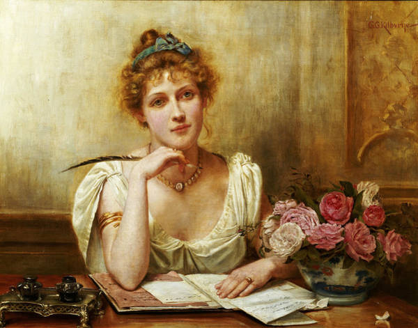 Writing Painting - The Letter by George Goodwin Kilbourne