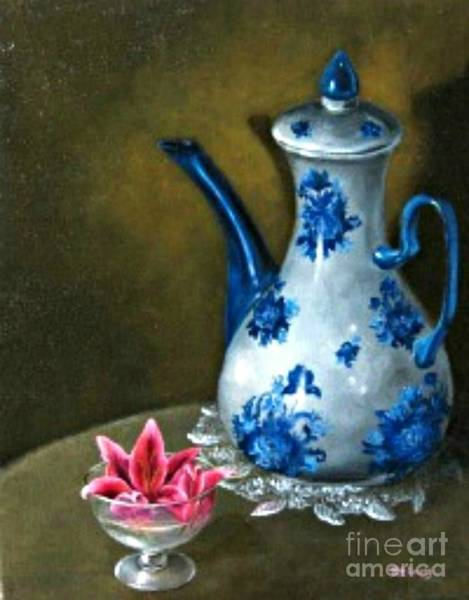 The Lily And The Coffe Pot Art Print by Patricia Lang