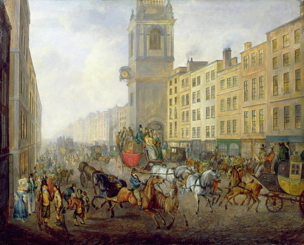 City Scene Painting - The London Bridge Coach At Cheapside by William de Long Turner