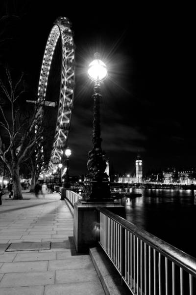 Southbank Photograph - The London Eye At Night by David Pyatt