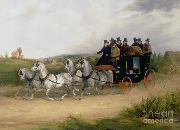Brighton Painting - The London To Brighton Stage Coach by William Joseph Shayer