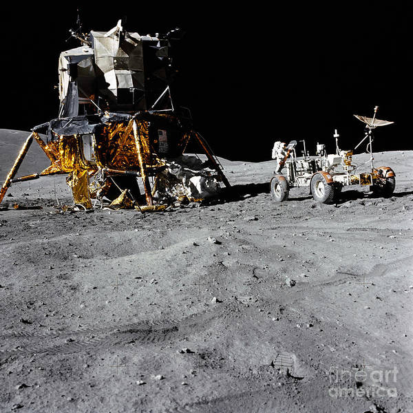Photograph - The Lunar Module And Lunar Roving by Stocktrek Images