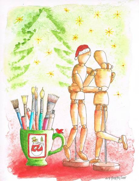 Acuarela Painting - The-mannequin's-christmas by Carlos G Groppa