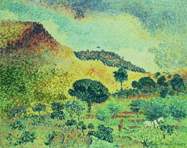 Plowing Painting - The Maures Mountains by Henri-Edmond Cross