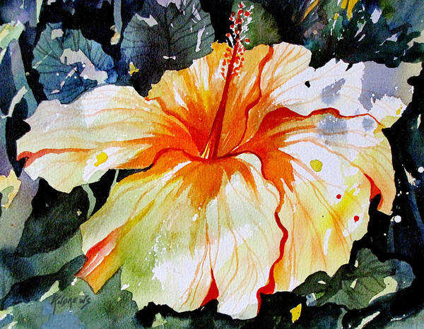 Hibiscus Flower Painting - The Midas Touch by Rae Andrews