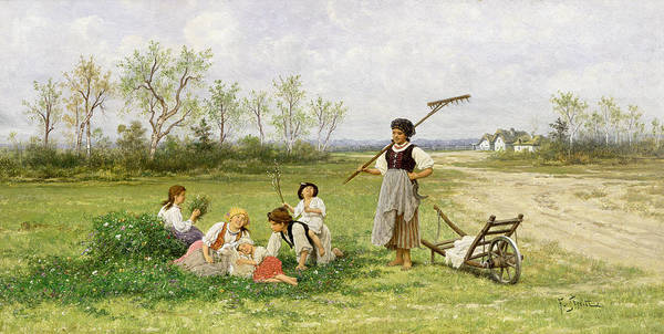 Family Farm Painting - The Midday Rest by Franciszek Streitt