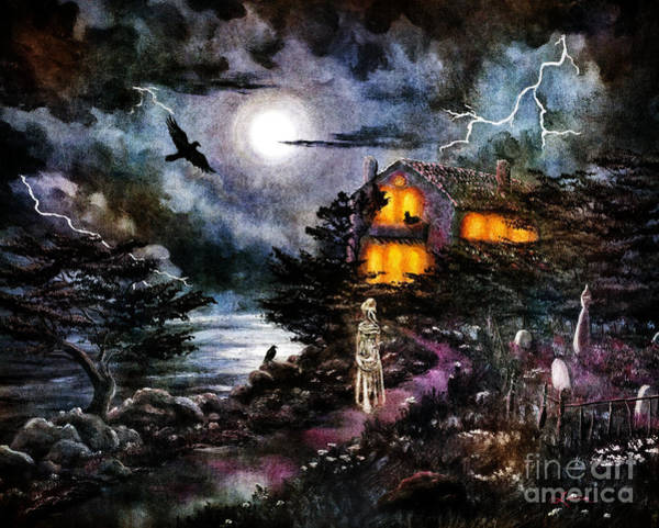 Cemetery Digital Art - The Midnight Dreary by Laura Iverson