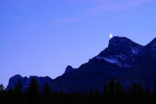 Wall Art - Photograph - The Moon And Mount Rundle by Larry Ricker