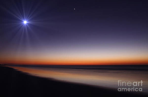 Foreshore Photograph - The Moon And Venus At Twilight by Luis Argerich