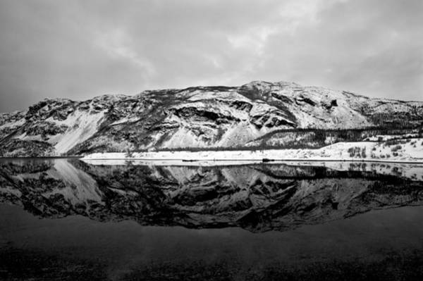 Photograph - The Mountain Reflection In A Fjord In Norway by U Schade