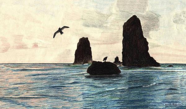 Oregon Coast Mixed Media - The Needles by Wendy McKennon
