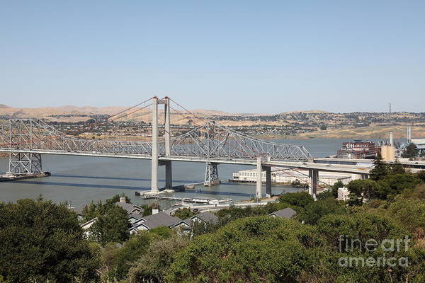 Benicia Bridge Wall Art - Photograph - The New Alfred Zampa Memorial Bridge And The Old Carquinez Bridge . 5d16745 by Wingsdomain Art and Photography