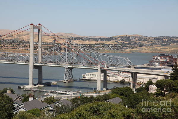 Benicia Bridge Wall Art - Photograph - The New Alfred Zampa Memorial Bridge And The Old Carquinez Bridge . 5d16747 by Wingsdomain Art and Photography