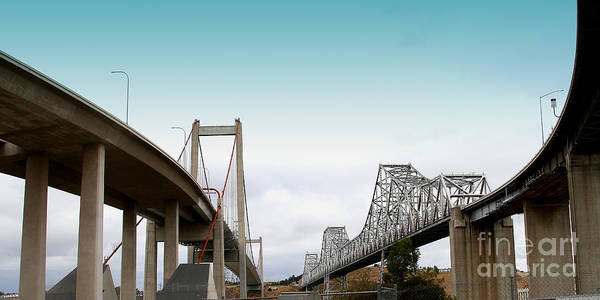 Alfred Zampa Wall Art - Photograph - The New Alfred Zampa Memorial Bridge And The Old Carquinez Bridge . 7d8829 by Wingsdomain Art and Photography