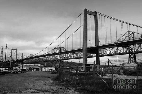 Alfred Zampa Wall Art - Photograph - The New Alfred Zampa Memorial Bridge And The Old Carquinez Bridge . Black And White . 7d8828 by Wingsdomain Art and Photography