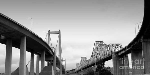 Alfred Zampa Wall Art - Photograph - The New Alfred Zampa Memorial Bridge And The Old Carquinez Bridge . Black And White . 7d8829 by Wingsdomain Art and Photography